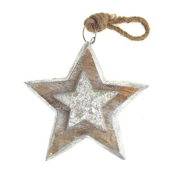 Hanging Wooden Distressed Star Christmas Ornament with Mini Star and Silver Edges, Natural/Silver, 6-Inch
