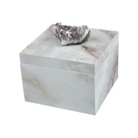 Ekaterina Decorative Box Grey Marble,Natural Geode