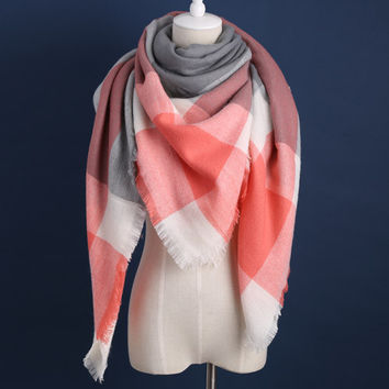Piper Plaid Scarf in Coral & Grey
