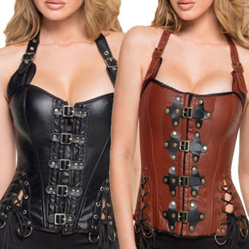 Ladies Black Brown Goth Steampunk Buckle Faux Leather Corset Top