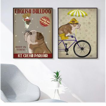 English Bulldog Ice Cream Dog Painting Canvas Pictures for Living Room Dog Bicycle Wall Art Retro Posters and Prints Quadros