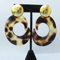 Massive 1980's Vintage Lucite Tortoise Shell Dangle Pierced Earrings