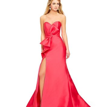 Savannah Nights Strapless Bow Front Gown | Dillards