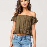 FULL TILT Ruffle Off The Shoulder Womens Top | Blouses