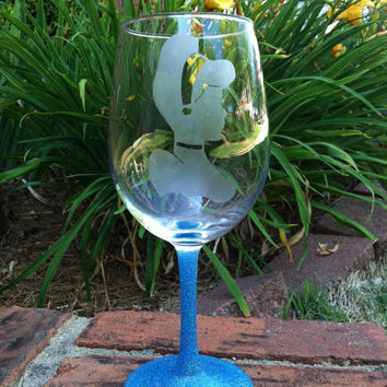 Disney's Cinderella etched Wine glass