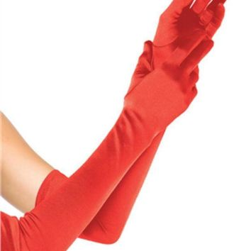 DCCKLP2 EXTRA LONG SATIN GLOVES in RED