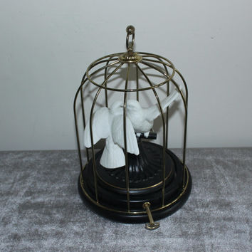 Franklin Mint Birds of Love music box 1987, birdcage, doves, musical figurines, bird figurine, bird decor, collectibles