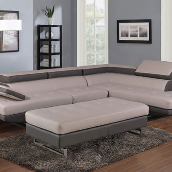 Global United 8136GR-2PC 2 pc Nova white and gray leather gel upholstered sectional sofa with adjustable headrests and arm with chrome legs