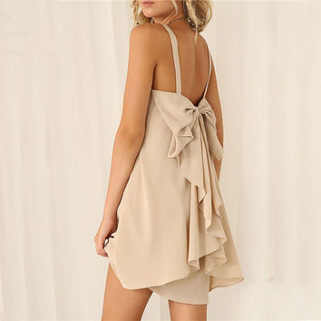 Pure Color Spaghetti Strap Bow Knot Backless Short Chiffon Dress