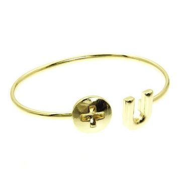 Gold Screw U Cuff Bracelet