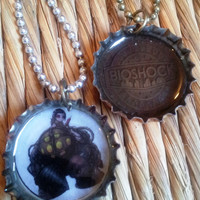 Bioshock Bottle Charms - upcycled jewelry necklace big daddy geekery FREE shipping to USA