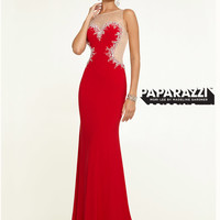 High Neck Sheer And Beaded Paparazzi Prom Dress By Mori Lee 97143