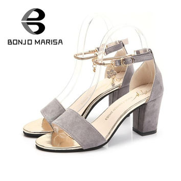 On selling women's ankle strap buckle open toe shoes less platform thick high heels ladies summer sandals