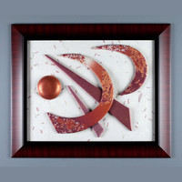 Harvest Moon, 4-Way Large Wall Art 3D in Copper, Gold and Autumn Red Polymer Clay