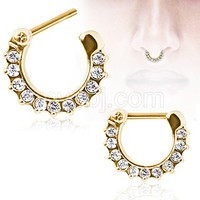 Gold Plated Gemmed Septum Clicker