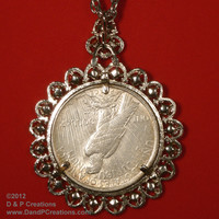 19424 Peace Silver Dollar Topaz Color Rhinestone Bezel with Necklace Chain