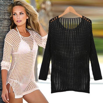 Sexy Cover Up Crochet Womens Swimsuit Coverups Strandkleding Beach Wear Sheer Cover Up Dress Free Shipping