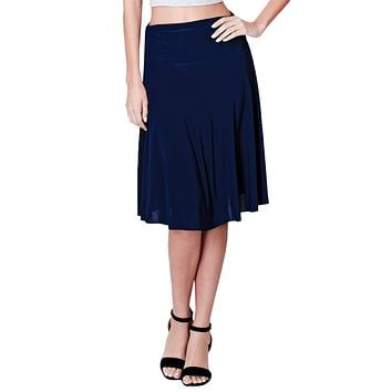LE3NO Womens Stretchy Flared Midi Skater Skirt