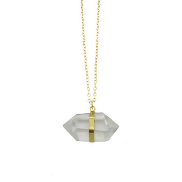 Double Terminated Crystal Quartz Point Necklace