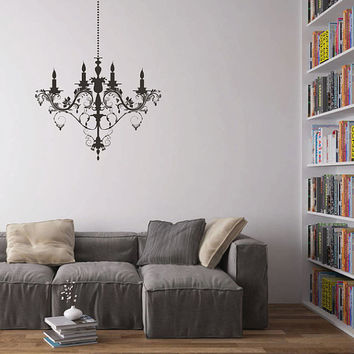 kik1618 Wall Decal Sticker vintage chandelier lamp bedroom living room