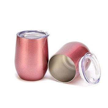 2 Pack Stainless Steel Wine Glasses 12 OZ Vacuum Break Resistant Outdoor Drinkware  Type Heat Preservation Cup Great Tumbler for Red Wine Cocktail and Nonalcoholic Beverages Rose Gold