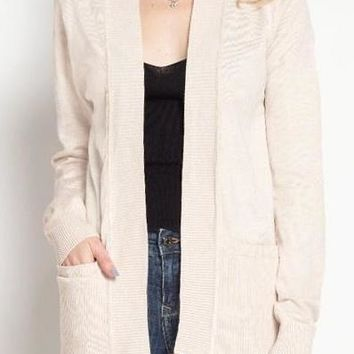 Taylor Ribbed Cardigan in Oatmeal