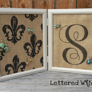 Double Paned Burlap Earring Display, Monogrammed Earring Holder, Fleur de Lis decor, beige frame