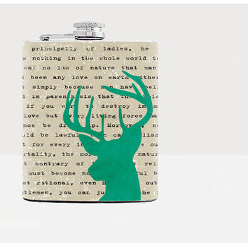 Green deer hip flask-Gift for him-Gifts for him-Hip flask-Unique gift for men-Hip flasks-21st birthday gift-Whiskey-Alcohol-Gray-Funny