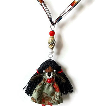 Tia, Ethnic, African American, BENDY DOLL and NECKLACE, Unique, Waldorf inspired, black, miniature doll, whimsical gift, toy, jewelry, girl