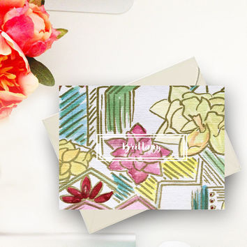 Geometric succulent note cards gifts for her personal stationery paper gift gold watercolor custom notecard abstract & modern greeting cards