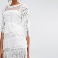 A Star Is Born | A Star Is Born Tiered Tassel Embellished Mini Dress at ASOS