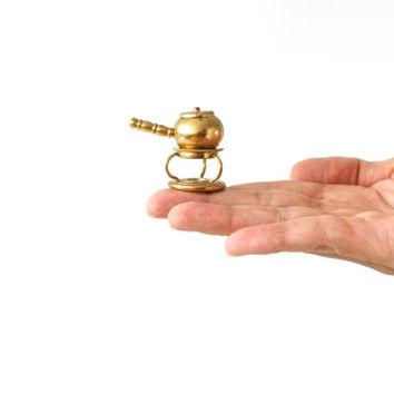 MINIATURE BRASS FIGURE, Fondue Pot and Burner, 3-Piece, Gold Colored, Tiny Figurine, Little Trinkets, Miniature Collectibles by Stevelyn