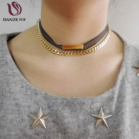 Fashion Jewelry Female Punk Lace Necklace Handmade Gold Plated Double Chain Chocker Necklace For Women Colar Accessories