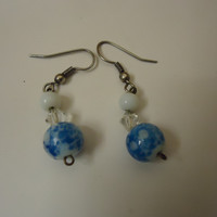 Designer Fashion Earrings Drop/Dangle Female Adult Blue/White/Silver -- Preowned