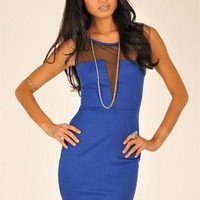 Blue Mini Dress - Blue Sleeveless Mesh Cut Out | UsTrendy