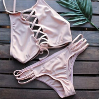 solid color high neck bandage Bikini Swimsuit Swimwear