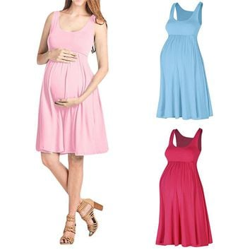 Maternity Clothes Maternity Dresses Summer Fashion Pregnancy Dress Maternity Solid Sleeveless Vest Causal Mini Dress JE12#F