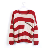 Striped Bat Long Sleeve Loose Sweater from chiccasesandhomeproducts