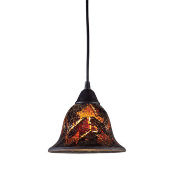 10144/1FS Firestorm 1 Light Pendant In Dark Rust And Firestorm Crackle Glass - Free Shipping!
