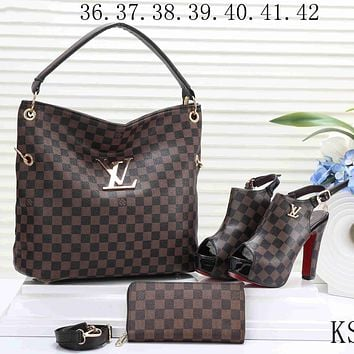 LV 2018 new women's high-quality exquisite three-piece F-KSPJ-BBDL Coffee Plaid Bags