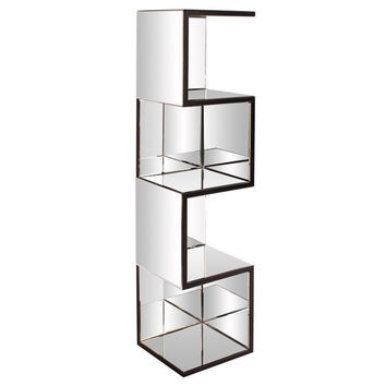 Howard Elliott Mirrored Shelf w/ Zig Zag Effect - 99057