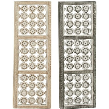 """Flower Design Wood Metal Wall Panel 2 Assorted 12""""W, 36""""H"""
