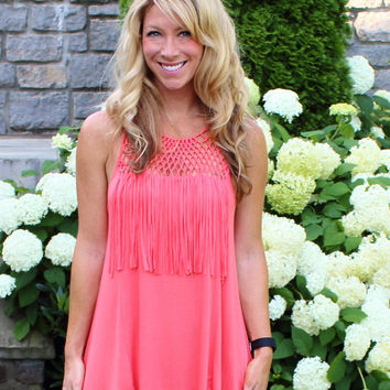 Fringe Fever Tank Peach/Coral