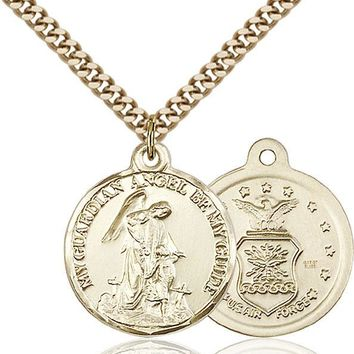 14K Gold Filled Guardain Angel Air Force Military Catholic Medal Necklace 617759819373