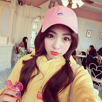 HQ Korean  Girls Fashion Harajuku Baseball Cap 2017 New ,HOT New Unisex Casual Cute Fish Pattern Vintage Trendy Caps XHH04477