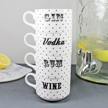 Vodka, Rum, Wine And Gin Stacking Teacup Set