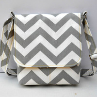 Small Messenger Bag Cross Body Shoulder Bag - Gray Chevron Zig Zag with Yellow