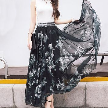 M to XL Hot Newest 12 Patterns Peacock Feather Elastic Waist Expansion Bottom Printed Fake Silk Full Long Chiffon Maxi Skirt