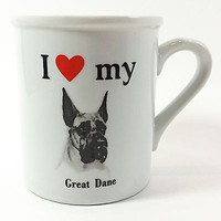 I Love my Great Dane Coffee Mug Cup 10oz Vintage Papel Heart Dog White k288