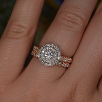 Handmade Diamond Cluster Setting Ring and Band (18k White & Rose Gold)